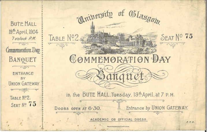 Invite to Commemoration Day banquet 1904 (Acc 130/2/10)