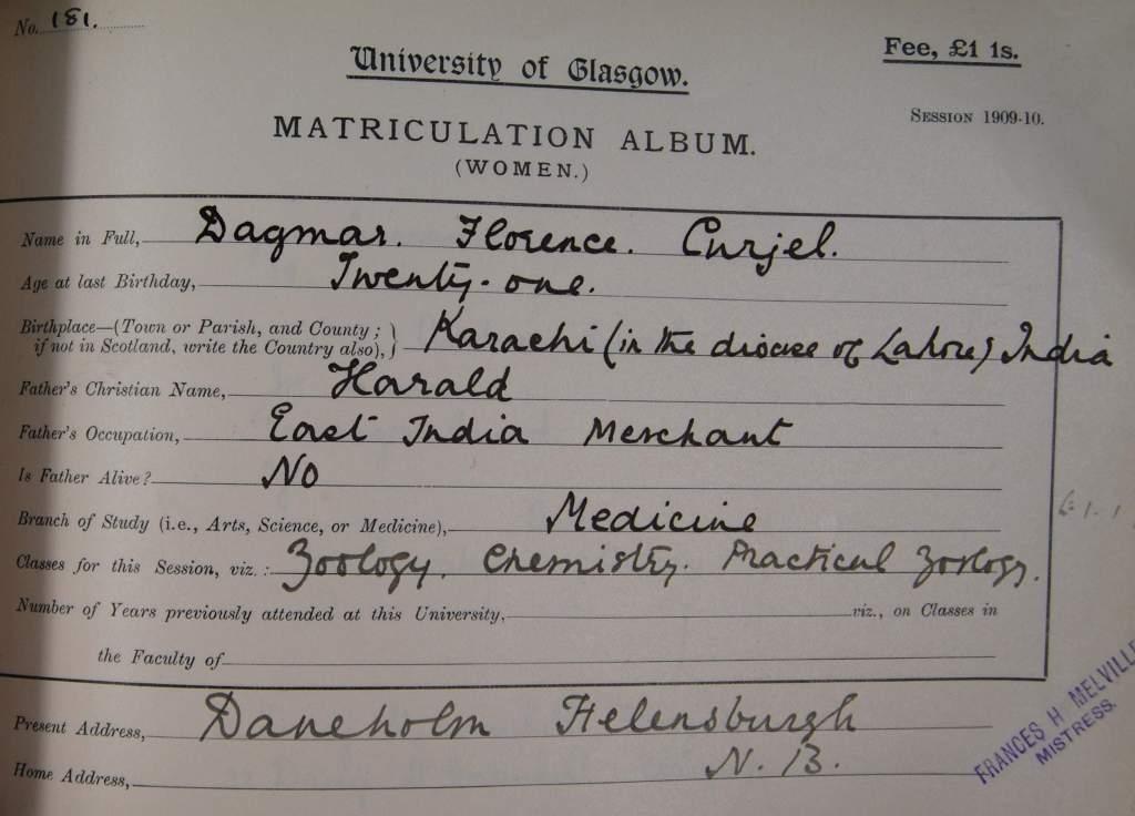 Dagmar's matriculation record 1909-10 (R8/5/30/9)