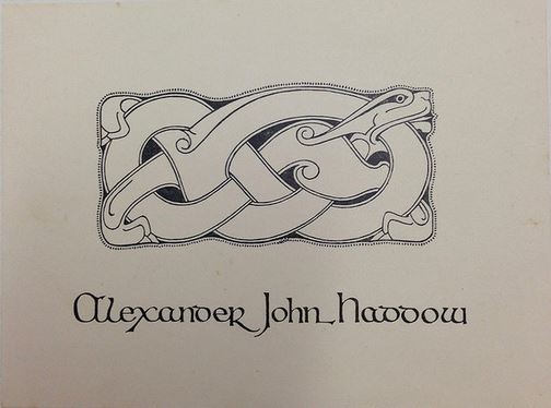 Alexander Haddow's self-designed bookplate