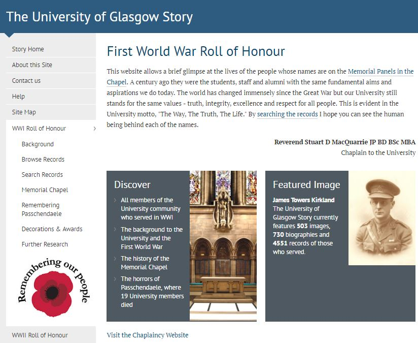 Roll-of-honour webpage