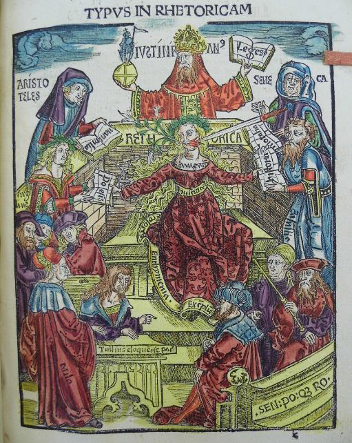 This illustration shows the traditional allegory of rhetoric. Situated in the centre, Rethorica is shown holding the tip of a sword and a flower in her mouth. She is surrounded by prominent figures of knowledge, including Aristotle, Emperor Justinian and Seneca.