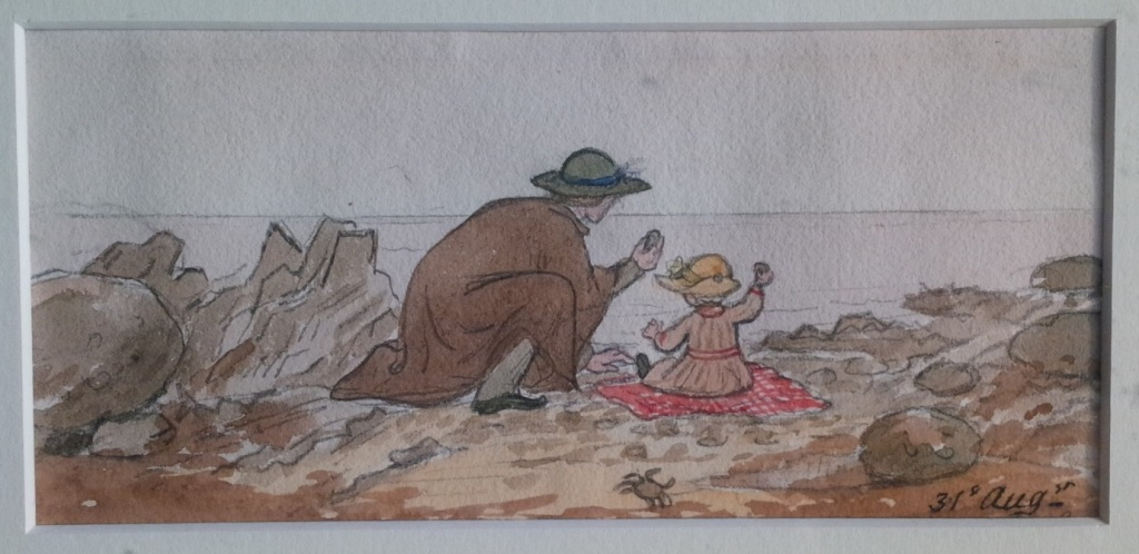 Jemima Blackburn, 'William Thomson teaching Projection to William Blackburn', watercolour, 31 August 1851. See http://bit.ly/2cw6cfP for further details.
