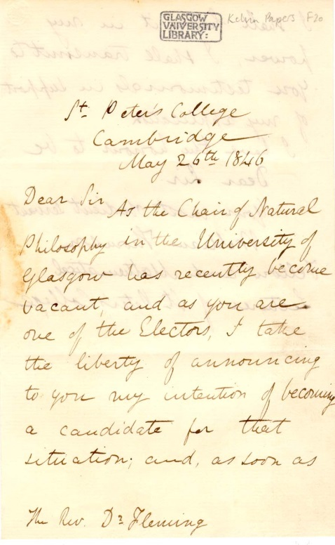 Letter, William Thomson to William Fleming (Professor of Oriental Languages), 26 May 1846 (University of Glasgow Special Collections, MS Kelvin F20). Available at http://special.lib.gla.ac.uk/exhibns/Kelvin/correspondents.html.