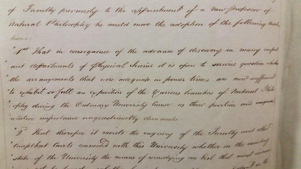 Extract from Faculty Minutes, 28 August 1846 (University of Glasgow Archives, GUA 2670o)