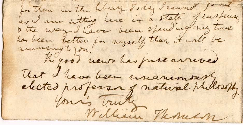 Extract from Letter, Thomson to George Boole, 11 September 1846 (University of Glasgow Special Collections, MS Kelvin B16, sheet 2r). Available at http://special.lib.gla.ac.uk/exhibns/Kelvin/boole.html.