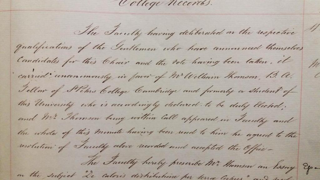 Extract from Faculty Minutes, 11 September 1846 (University of Glasgow Archives, GUA 2670o)