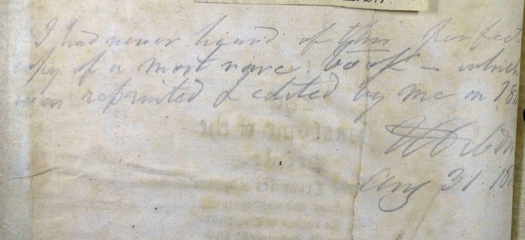 T.F. Dibdin's 1836 annotation in oor copy of Rastell (Sp Coll Hunterian Ds.2.1)