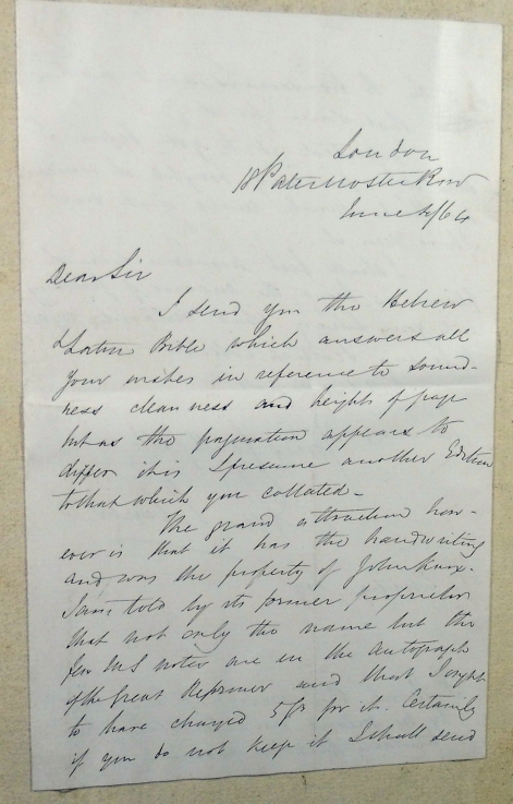 "Letter from Ebenezer Palmer to William Euing, offering him the ""Knox"" Old Testament (Sp Coll Euing Dr-b.5)"