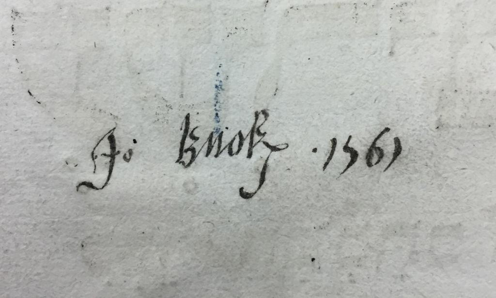 """Jo. Knok[e]s 1561"" - John Knox's signature? (Sp Coll Euing Dr-b.5"