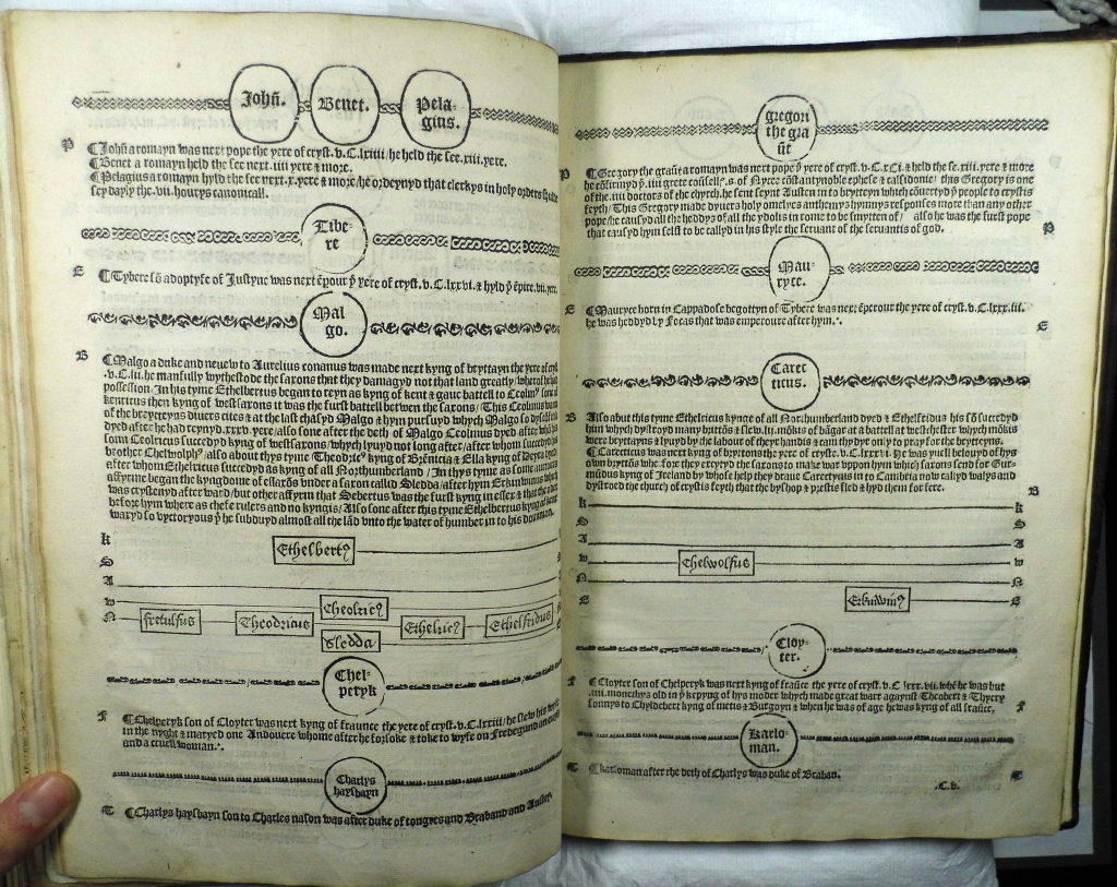 Parallel chronology layout of Rastell's The Pastyme (Sp Coll Hunterian Ds.2.1)