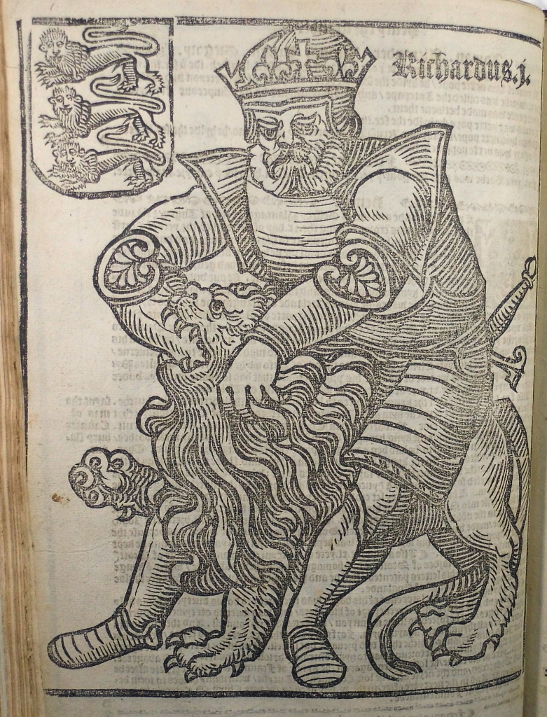Woodcut of Richard I ('the Lionheart') in Rastell's The Pastyme of people (Sp Coll Hunterian Ds.2.1)