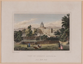 """Colour sketch titled """"View of Lunatic Asylum from Bell's Park"""", c. 19th century. NHS Greater Glasgow & Clyde Archives ref. HB 13/15/236; available online via the Wellcome Library."""