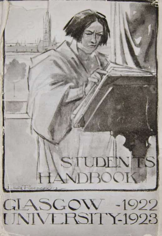 Serious reading: Cover of Glasgow University Student's Handbook 1922-3 (Archives DC157)