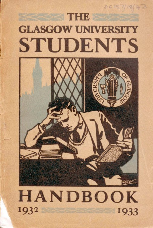 Serious reading: Cover of Glasgow University Student's Handbook 1932-3 (Archives DC157)