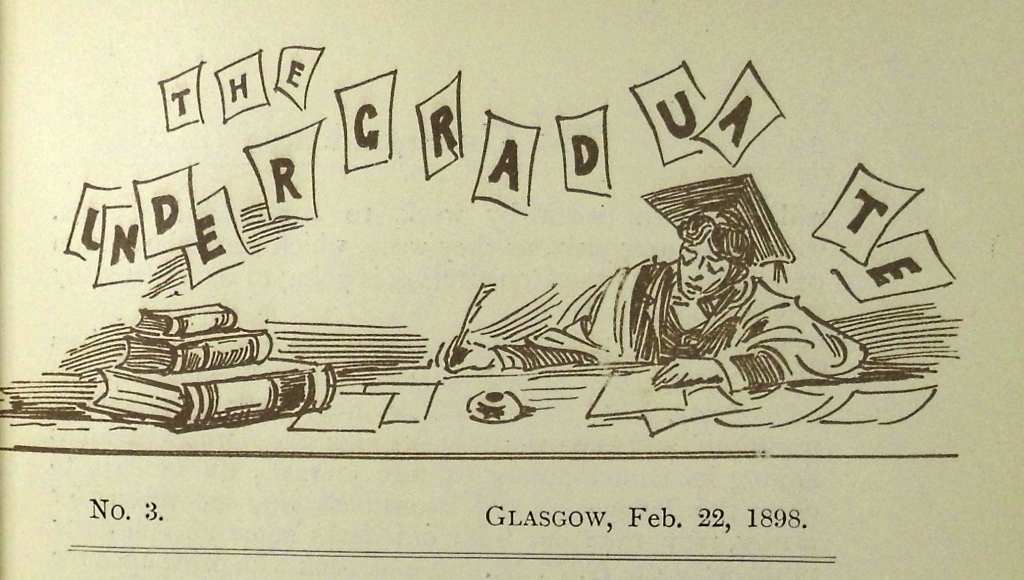 """Some serious desk hogging going on. """"The undergraduate"""", a Glasgow University student journal, 1898 (Sp Coll Mu21-d.21)"""