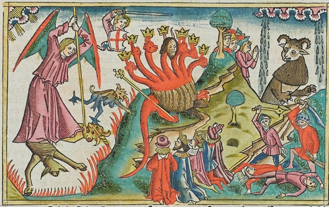 Hand coloured woodcut from 4.1 Bible at the Burrell Collection