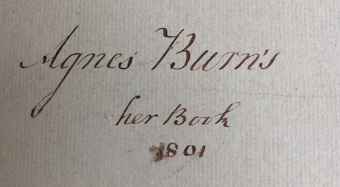 Ownership inscription of Agnes Burns