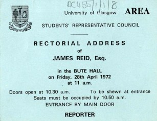 Ticket for admission to James Reid's Rectorial Address (DC 455/1/1/8)
