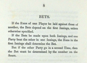 Rules regulating betting between players, Western Cricket Club, 1829. Sp Coll Mu26-f.56