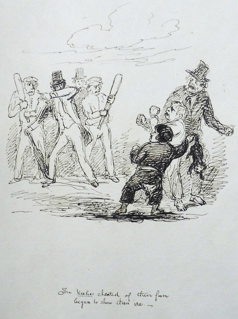 """The keelies cheated of their fun, began to show their ire"" pen-and-ink illustration by Andrew Macgeorge. Sp Coll Mu24-y.23."