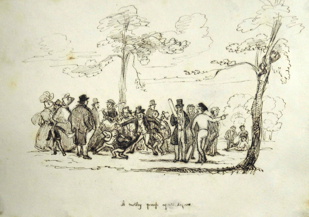 """A motley group of all degress"" gather to watch cricket on Glasgow Green. Pen-and-ink sketch by Andrew Mcgeorge. Sp Coll Mu24-y.23"