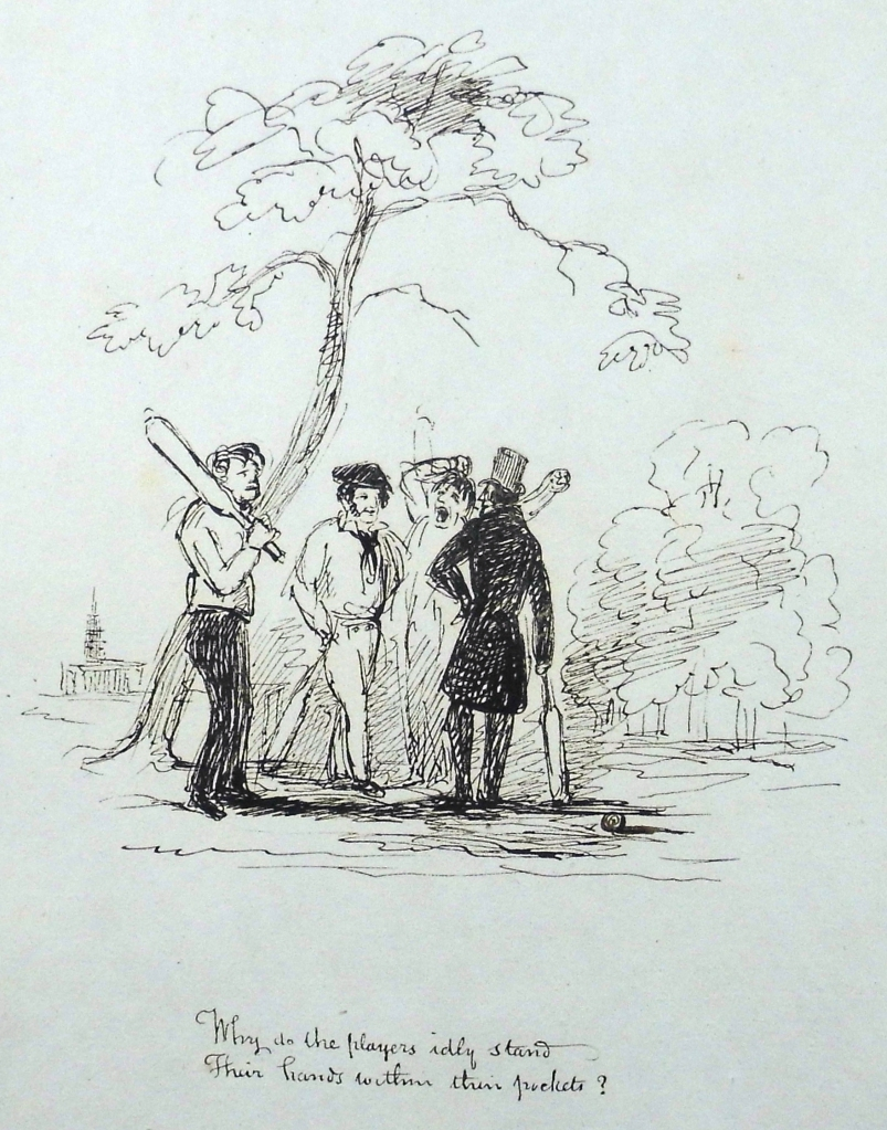 """Why do the players idly stand, their hands within their pockets?"". Pen-and-ink sketch by Andrew Macgeorge. Sp Coll Mu24-y.23."