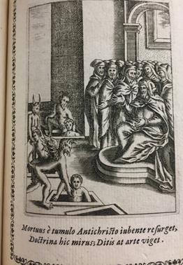 """Image of Antichrist from Alessio Porri's """"Vaso di verita nel quale si contengono dodeci resolutioni uere, à dodeci importanti, dubbi, fatti intorno all' origine, nascita, vita, opere, e morte dell' Antichristo"""" 1597. Library Special Collections: Sp Coll S.M. 872"""