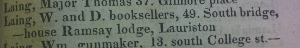 Post Office Annual Directory 1821 showing the Laings' shop (Sp Coll Bf72-h.34)
