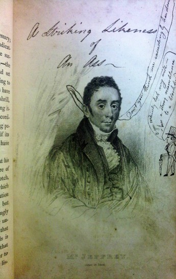 """""""A striking likeness of an ass"""". Students doodle all over this portrait off University of Glasgow Rector, Francis Jeffrey (Sp Coll DN.1.35)"""