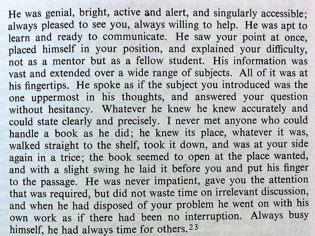 "Professor Masson of Edinburgh University, describing David Laing at work. From George H. Ballantyne, ""The Signet Library Edinburgh and its librarians, 1722-1972"""