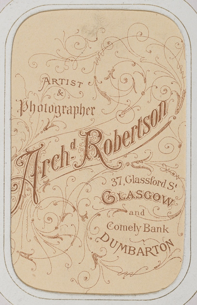 Reverse of carte de visite giving addresses of Robertson's studios (Dougan Add. 141)