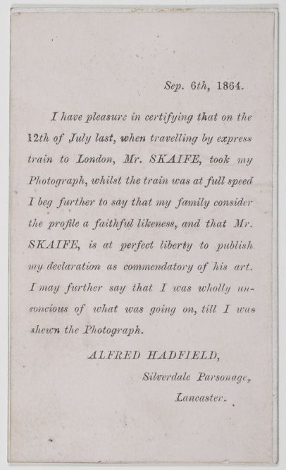 Reverse of pistolgraph, with a statement by the subject, Alfred Hadfield, who was caught unawares. (Dougan Add. 141 Item 22)