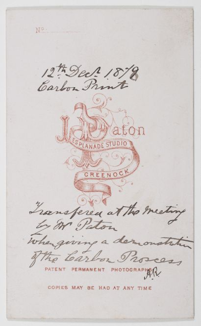 Reverse of carbon print 'transferred at the meeting by Mr Paton', 12 December 1878 (Dougan Add. 141 Item 39)