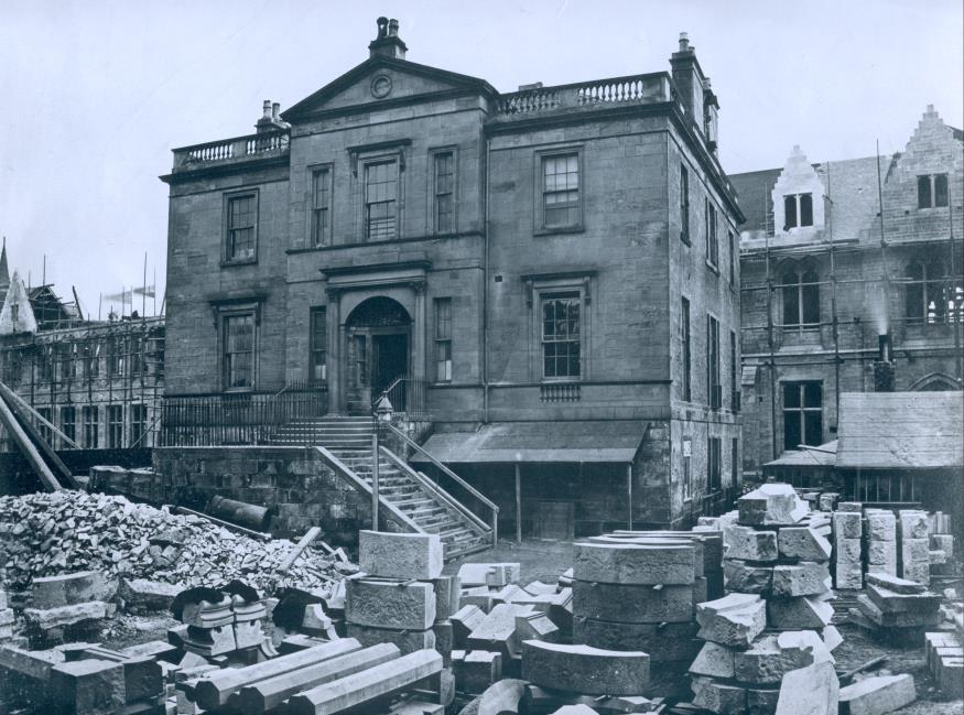 Gilmorehill House was used as a construction site office during the building of the Gilbert Scott building, 1869, GUAS PHU 1/104/1