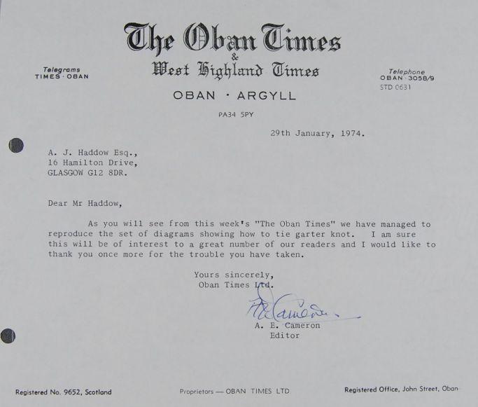 Oban Times correspondence 29 Jan 1974 DC 68-78