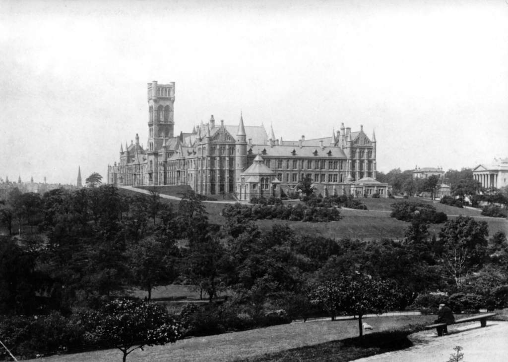 The Gilbert Scott Building in 1870, before the completion of the spire GB248 PHU1/63