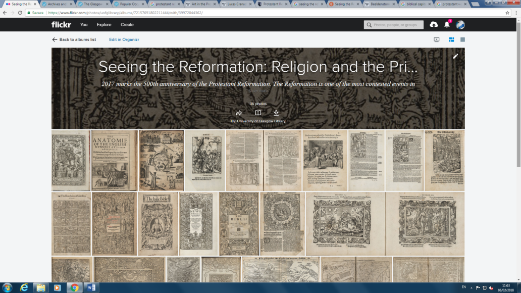 The finished Flickr page for Seeing the Reformation