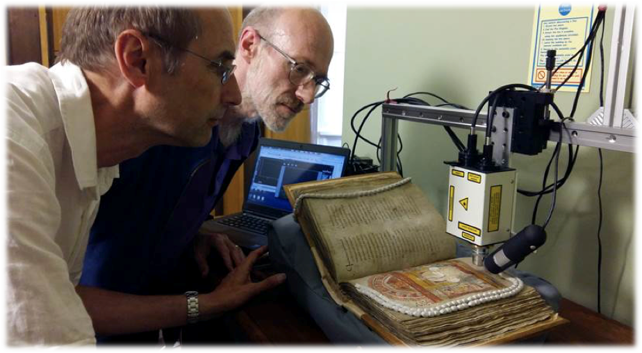 Beeby and Gameson examine the St Augustine Gospels in Cambridge.png