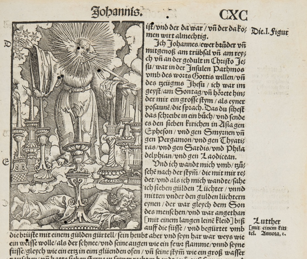 Detail of page from Das Gantz New Testament (1529), showing an illustration of St John's vision by Lucas Cranach the Elder. (Sp Coll Euing Dp-c.8)