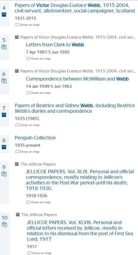 Papers of Victor Webb in Archiveshub main