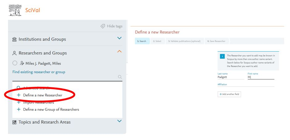 Screenshot of SciVal where the user is defining a new researcher for analysis