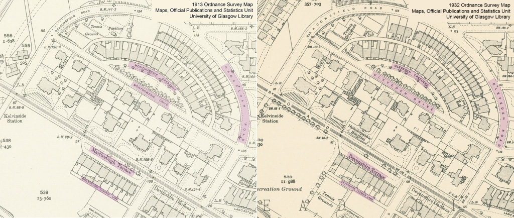 Ordnance Survey maps from 1913 and 1932 with streets highlighted to show names changes