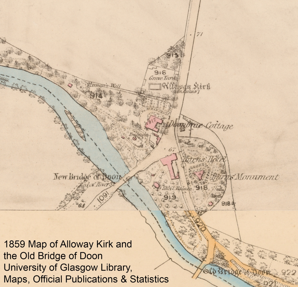 1859 map of Alloway Kirk and the old Bridge of Doon
