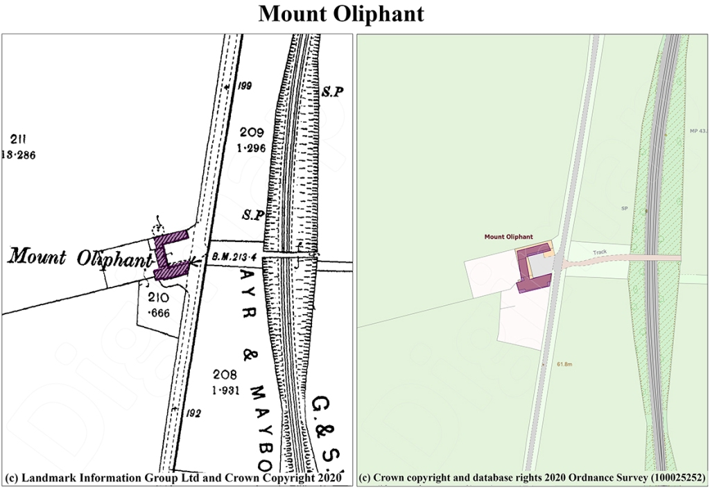 Digimap extracts of Mount Oliphant with the farm buildings highlighted, historical to the left, and current to the right.