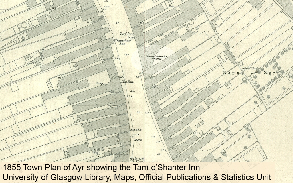 1855 town plan of Ayr showig the Tam o'Shanter Inn