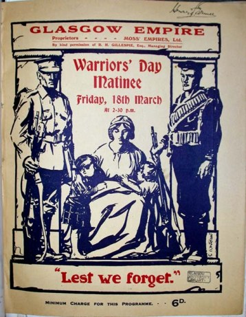 """""""Warriors' Day Matinee"""", Friday 18th March, 1921, Empire Theatre, Glasgow"""