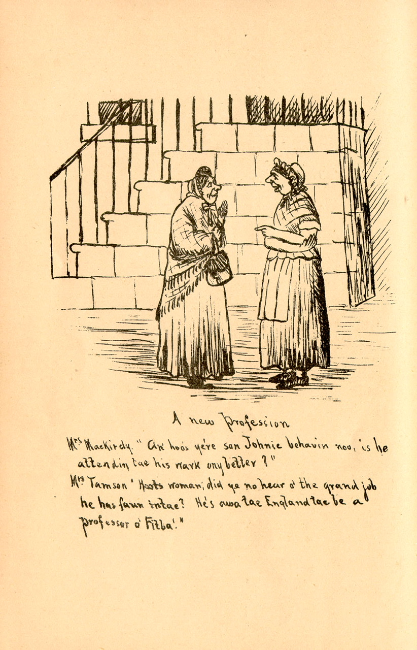 Two women talk in the street discussing one of the women's sons, who has moved to England to become a Professor o' fitba