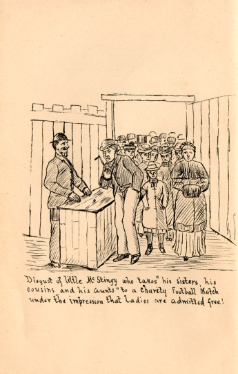 A comic image showing a man paying inn at the turnstile at Hampden
