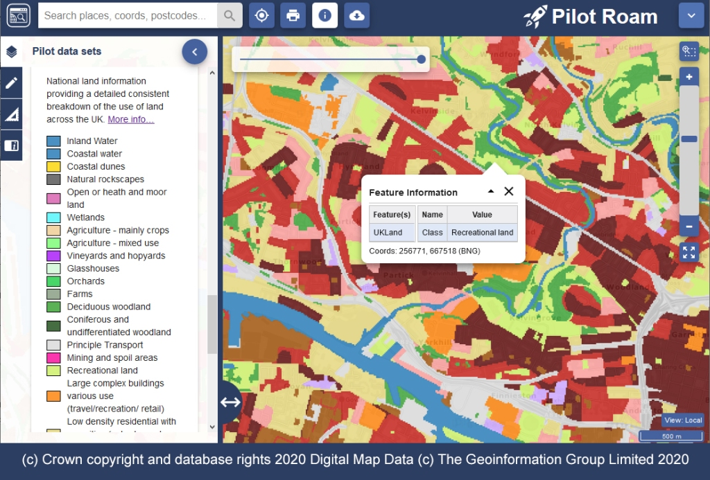 """The screenshot shows a map with an overlay of coloured sections. The key on the left shows what each colour represents. The information window has been clicked on a part of the map and shows that this coloured section is """"Recreational land"""""""