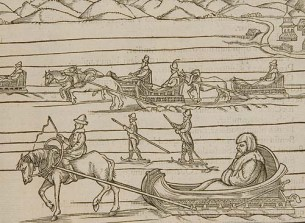Woodcut of people travelling across the snow in horse-drawn sleighs and on skis